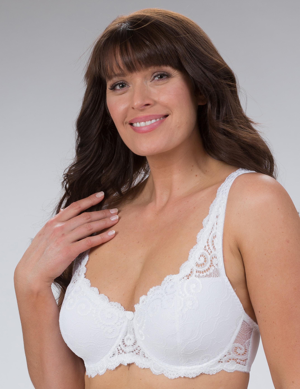 Kaarituellinen,pitsinen,Irene-rintaliivi,Valkoinen